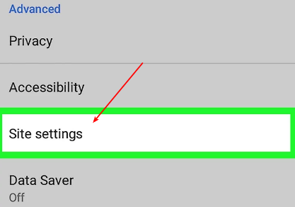 open android google chrome site settings