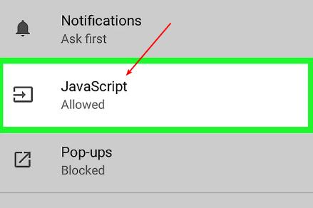 set android google chrome javascript
