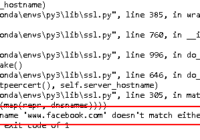 ssl.CertificateError - hostname does not match either of