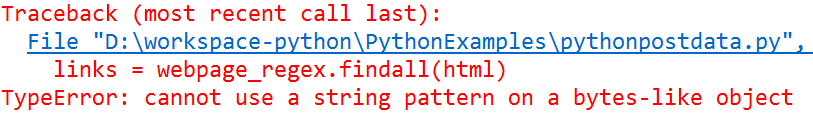 Fix TypeError: cannot use a string pattern on a bytes-like