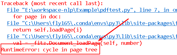 RuntimeError - cycle in page tree