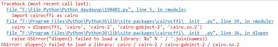 osError - dlopen fail to laod cairo library