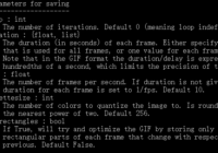 imageio.mimwrite() gif parameters