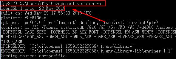 openssl version in python 3.7