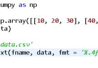 python save numpy array into csv file
