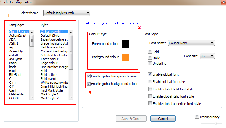 notepad change background color and text color