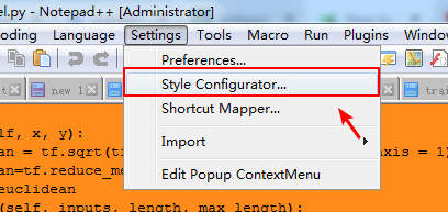 notepad style configurator