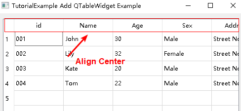 pyqt table header text align center