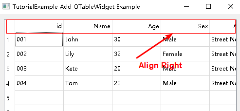 pyqt table header text align right