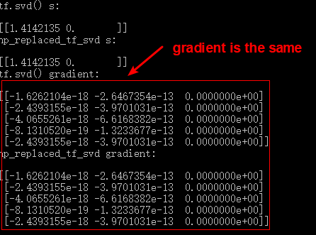 Compute SVD Gradient in TensorFlow After Replacing tf.svd() with numpy.linalg.svd() - TensorFlow Tutorial
