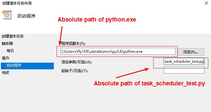 Add python scription in windows task sheduler