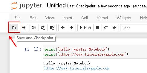 Jupyter notebook save checkpoint