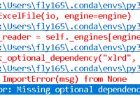 python pandas read excel - import error - missing optional dependency xlrd