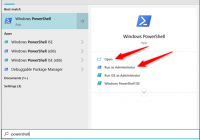 open powershell using start menu search on windows 10