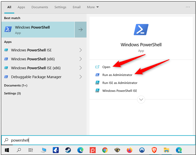 open powershell using start menu search on windows 10