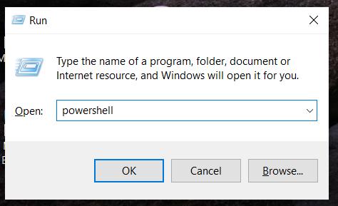start powershell using the run box