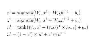 The formula of GRU