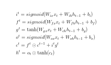 The formula of LSTM
