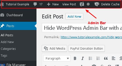 the effect of wordpress admin bar