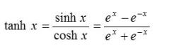 tanh(x) formula