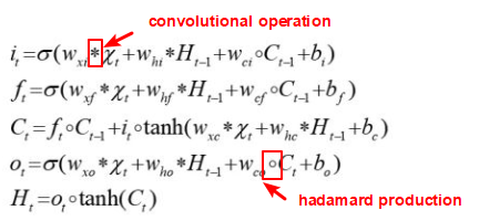 the formula of convolutional lstm network