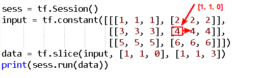 understand the begin and size of tf.slice() in tensorflow