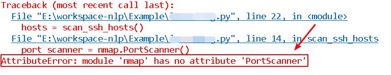 AttributeError - module 'nmap' has no attribute 'PortScanner'