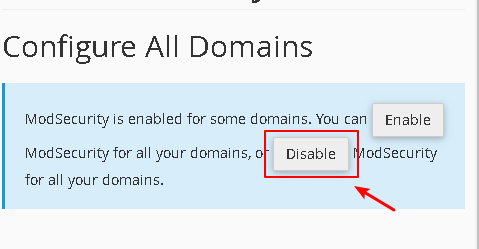 disable ModSecurity for all domains
