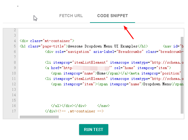 Test Breadcrumbs Code Snippet