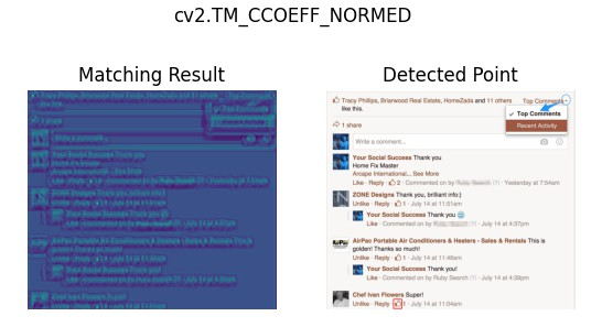 The effect of cv2.matchTemplate() cv2.TM_CCOEFF_NORMED