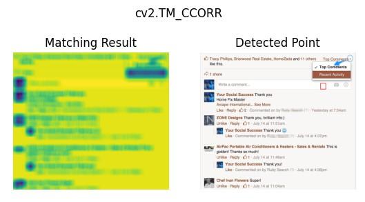 The effect of cv2.matchTemplate() cv2.TM_CCORR