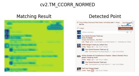 The effect of cv2.matchTemplate() cv2.TM_CCORR_NORMED