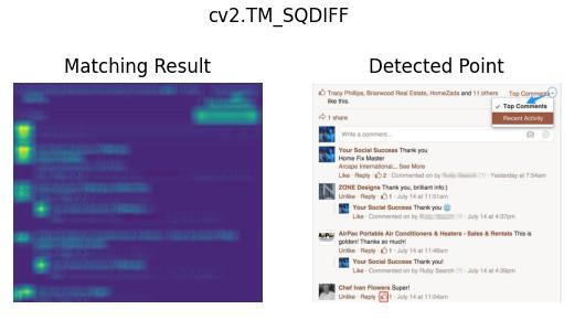 The effect of cv2.matchTemplate() cv2.TM_SQDIFF