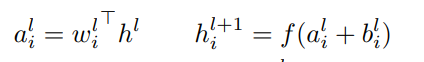 The equation of l-th layer neural networks