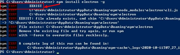 fix npm install EEXIST ERROR