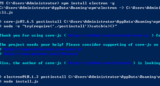 install electron using node.js