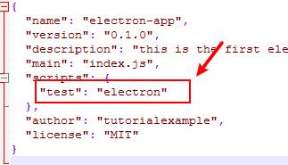 modify electron application package.json test command