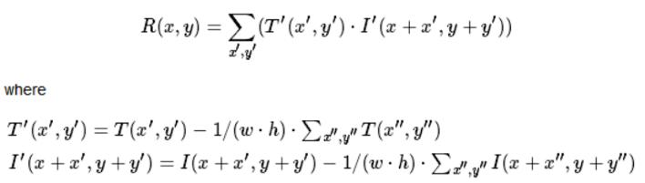 the equation of cv2.TM_CCOEFF