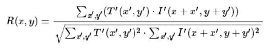 the equation of cv2.TM_CCOEFF_NORMED