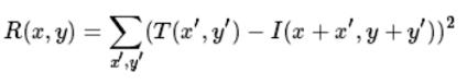 the equation of cv2.TM_SQDIFF