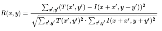 the equation of cv2.TM_SQDIFF_NORMED