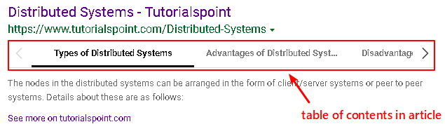 display article table of contents in bing search result page example one