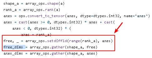 tensorflow tf.tensordot() get tensor free dims when axes is integer