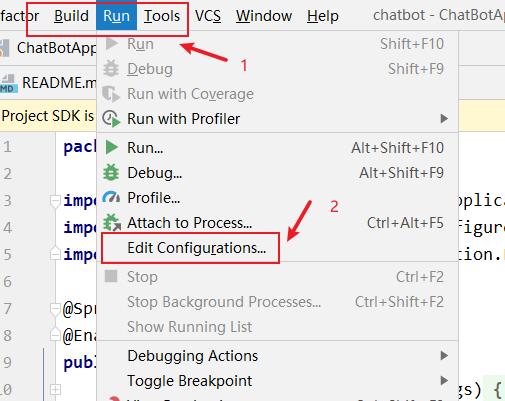 Click Run and Edit Configurations in IDEA