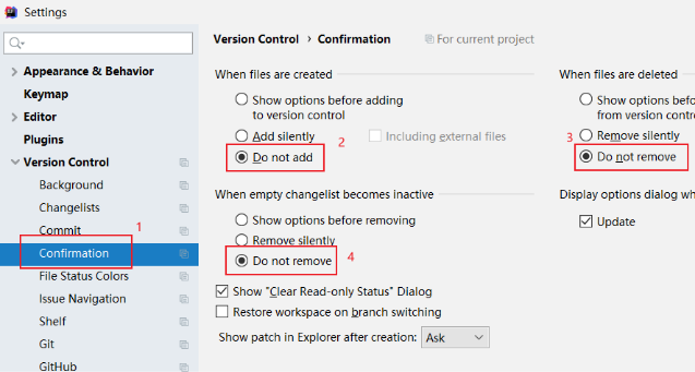 IDEA Version Control Confirmation