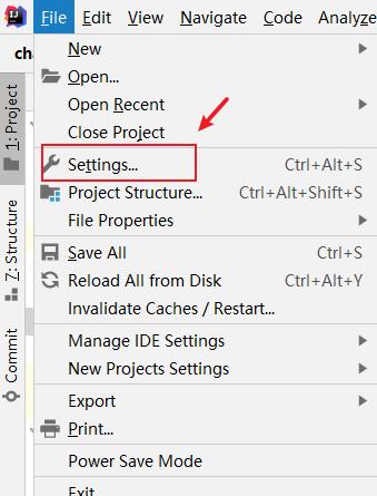 Open IDEA file settings