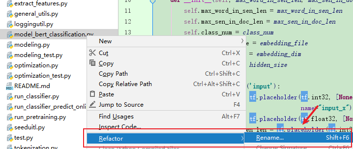 rename a file in pycharm