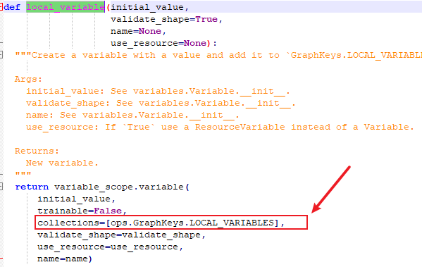 tensorflow create a local variable
